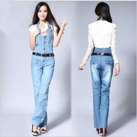 Free Shipping 2012 Hitz was thin leisure trousers Siamese pants even underwear jeans overalls-G214