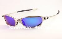 Men's Sport  glasses Unisex Juliet Sunglasses Silver frame Ice Iridium Polarized Sunglasses Blue Lens 04-114A new in cases