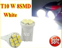 Free shipping Wholesale 150pcs/lot white T10 194 168 192 W5W 8 smd super bright Auto led car lighting wedge