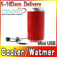 Wholesale Red Color Gadgets Mini USB PC Fridge Beverage Drink Cans Cooler & Warmer 2pcs/lot