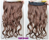 Hot Long Wavy Five Clip Onepiece Clip in Hair Extensions Synthetic Hairpiece