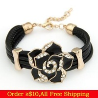 Min Order $10(Mix Items)Leather Fashion Black Red Multil Layers Gold Plated Rose Flower Charms Bracelet Wholesale