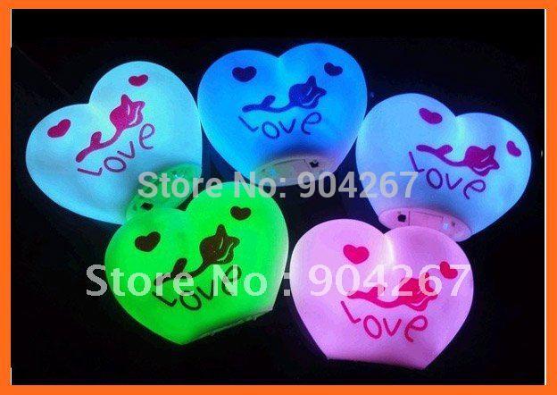 Mini LED Heart-shaped Night Heart light Colorful night light ,Romantic wedding light Free Shipping(China (Mainland))