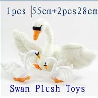 Promotion  lovely Plush toy simulation swan doll  best birthday gift  1pcs 55cm+2pcs 28cm free shipping