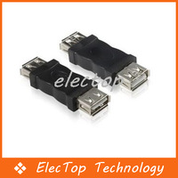 Free shipping Black USB 2.0 Connector Adapter Female to Female PC Extension Cable 200pcs/lot Wholesale