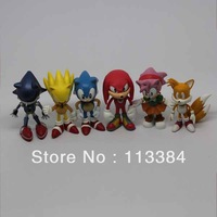 Wholesell/Retail 2012 Free Shipping FS Sonic the Hedgehog Mini Figures Collectibles 6pcs Loose for Christmas' Day Cute Gift/Toy