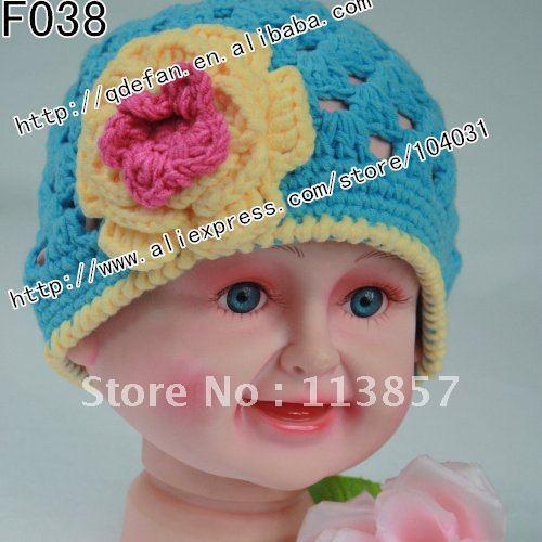 Free shipping (30/lot) 100% cotton baby girl crochet flower hats hand crochet beanies customize hat(China (Mainland))