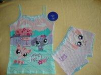 free shipping girls LPS top&underwear sets littest pet shop cotton pink shorts