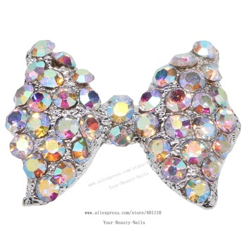 free shipping 10 pieces/pack) 3D big silver bow tie Alloy AB color rhinestone Nail Art iphone mobile Glitter Decoration