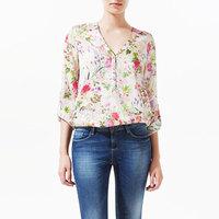 2014 new fashion women's elegant long sleeve shirts V neck flower floral printing casual chiffon loose ladies blouses tops #8656