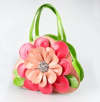 STOCK free shipping Christmas gift flower PU leather personality women's summer gift handbag evening/party bags creative bags
