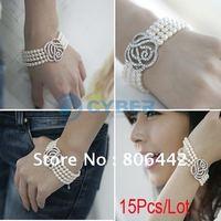 15Pcs/Lot Hot Fashion Rose Flower 4-Layers Pearls Bracelet Pure White Free Shipping