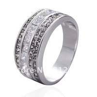 Size 8/9/10/11/12 Deluxe 10KT White Gold Filled White Sapphire CZ Gem Band Ring for Mens gift