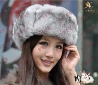 Genuine Natural Rabbit Fur Thicken Russian Trapper Fur Hats, Winter Warm Bomber Visor with Ear Flaps Fur Hats Mens, Women,