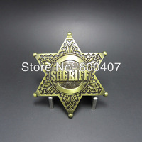 Distribute Wholesale Retail Belt Buckle (Original Vintage Bronze Sheriff Star) Free Shipping