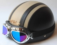 HOT SALES free shipping good quality half face helmet for scooter bike leather motorbike helmet with color goggle