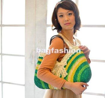 5pcs/lot summer straw bags beach bag women Sweet Rainbow Handbags totes bag Wholesale drop shipping 7137