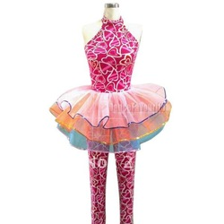 Jazz Costumes, halter long unitards with seperated colored tutus(China (Mainland))