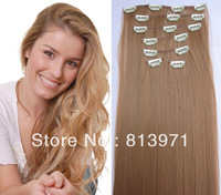 "130g/7pcs/22"" Straight Long Heat Resistant Hairpieces Synthetic Hair Extension Clip in Hair Extensions #27D Honey Blonde Hair"