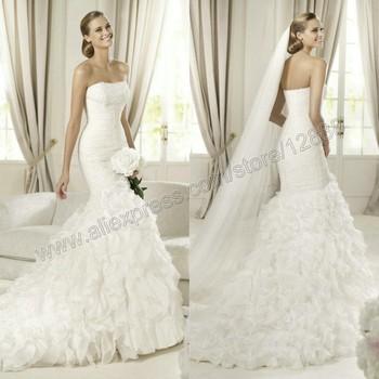 Dreamy Style 2014 Ivory Organza Lastest Designer Mermaid Tail Wedding Dress Bridal Gown Free Shipping