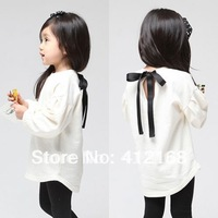 FreeShipping! 2014 Spring Autumn female Girls children's back strap bow puff sleeve sweatshirt t-shirt whloesale Freeshipping