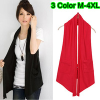 3 Colors Ladies Plus Size Sleeveless Halter Pockets Loose Vest Shirts Brand Summer Knitted Long Waistcoat Shirts Size M- XXXXL