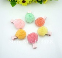60pcs/lot HA0093 colorful chiffon rose flower ribbon duck side clips, DIY handmade hair clips accessories for baby girls