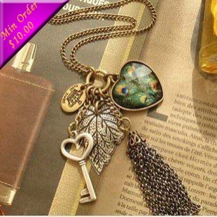 Love Peacock Feather Leaves Key Tassel Necklace N200(China (Mainland))