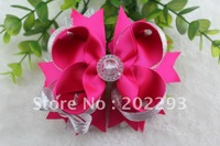 5 inches wedding accessories hair bows,sold color and sliver color,sell hot, free shipping fee!!!