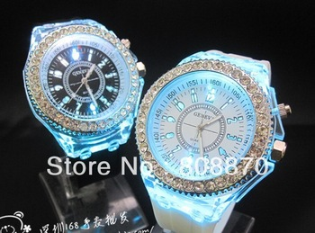 NEW Geneva LED Watch Crystal Dial Flash women dress Watches Analog Ladies Quartz watch flash led back light Casual watches