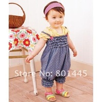 100% Cotton Blue Short Sleeve Romper with shoulder-straps like Jeans romper for 1~4Y free shipping retail drop ship