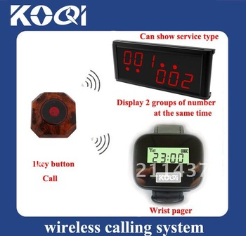 DHL freehipping restaurant paging systems,wrist receiver < 15pcs buttons + 2 pcs watch receiver +1pcs LED receiver>
