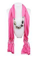 6pcs/lot wholesale solide cotton pashmina shawl  CCB Pendant Necklace Lady's scarf  wrap Free shipping