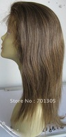 "Free shipping!  Stock 16"" straight 2/27# color brazilian remy human hair full lace wig fast delivery"