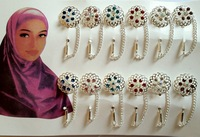 Muslim Brooch Wholesale,12pcs/dozen, Assorted Colors Hot Sale Silver Plated Muslim Flower-shape Hijab Pins