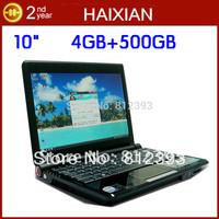OEM 10 inch Intel Atom dual core 4GB RAM 500GB HDD webcamera wifi colorful notebook computer mini laptop