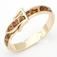 Free Shipping Wholesales 10PCS PUNK Style Couple bracelets - Leopard Belt buckle bracelet Korean fashion Button Glitter Bangles
