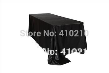 """Black Satin Rectangle Tablecloths 90"""" x 132"""""""