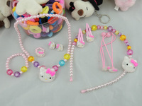 Free Shipping 6set 7 piece set Hello Kitty children's hair clips hair bands necklace earrings rings Princess hair accessories