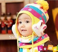 Hot Winter baby cap models cartoon rabbit children baby wool the rainbow hat + rainbow scarf Set  Free shipping