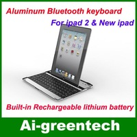 Wholesale Aluminum Case wireless bluetooth keyboard for ipad 2 & the new ipad Free Shipping, Ultra slim bluetooth keyboard