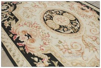 FREE SHIP! 8X10 Aubusson Area Rug BLACK CREAM French Home Ivory White FLAT WEAVE