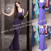 NEW! 100% Real Photo Free Shipping Custom-made A-line Matte Crepe Column Dress with Cowl Back Bridesmaid Dresses VW360069