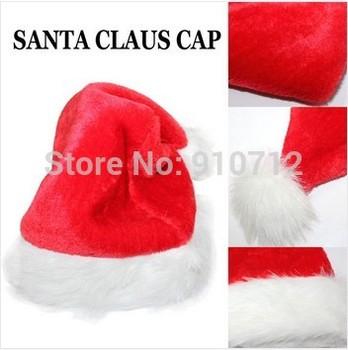 Happy Christmas!! SANTAS HAT/SANTA CLAUS CAP SMALL FLUFFY SOFT RED Soft And Comfortable FREE SHIPPING