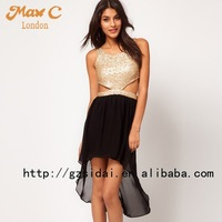 Latest  Sequins beaded dress with chiffon skirt