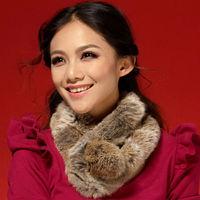 2014 New Women's Fur Scarf 100% Genuine Rabbit Fur Velvet Short Style Woman Winter Scarves Muffler 80268