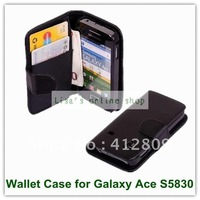 For Galaxy Ace Case,Wallet Book Flip PU Leather Case Card Slot Pouch For Samsung Galaxy Ace S5830 Free Shipping