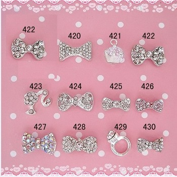 Wholesale, 100pcs/bag, 8mm-10mm BOW Shape 3d metal nail art decorations with shining rhinestones B81