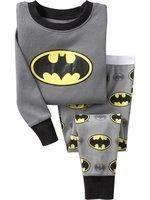 NEW! Free Shipping Fashion Baby boy/girls Pajamas set cartoon Batman cotton long-sleeved T-shirt + trousers kid's Pajamas suits
