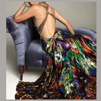 Free Shipping 2012 Glamour Printing Fabric Pleat Bodice Hand Beading & Crystal V-neck high low long evening dress JA121007